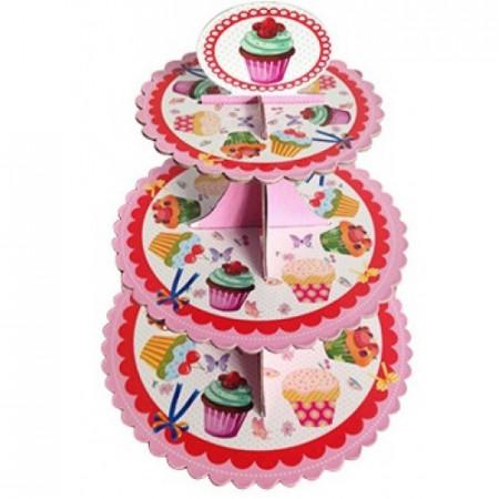 """Подставка для капкейков """"Кексы розовый"""", картон"""