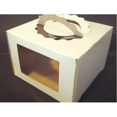 Коробка для торта 28*28*20 см фигурная ручка