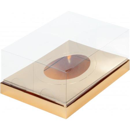 Коробка под половинку шоколадного яйца с пласт. крышкой 235*160*100 мм (золото)