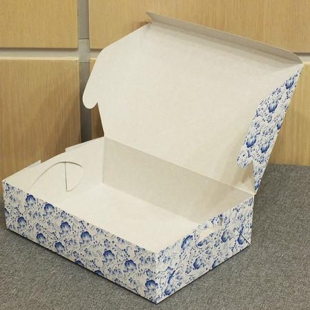 """Коробка для пирожных 24*19.5*7.5 см в стиле """"Гжель"""""""