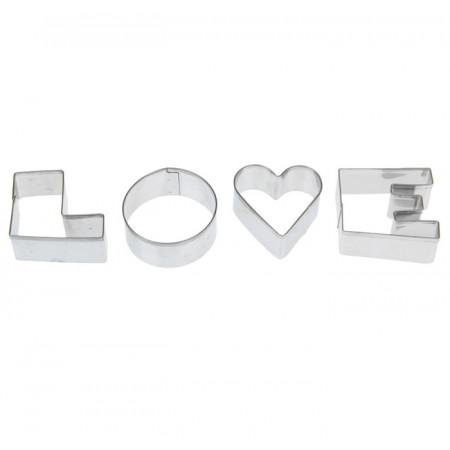 """Набор форм для вырезания печенья 4 шт 10х10х1,5 см """"Любовь"""