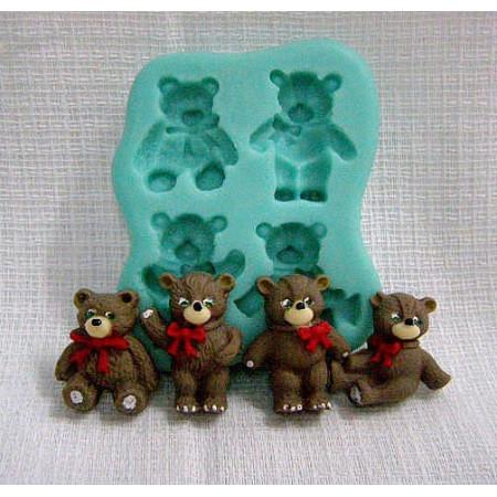 "Молд ""4 медвежонка"" размер одного 2,5*2*1см"