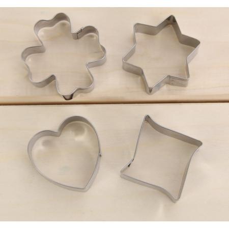 """Набор форм для печенья """"Сердце, звезда, клевер"""", 4 шт"""