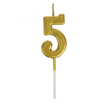 Свеча в торт цифра 5, золотой