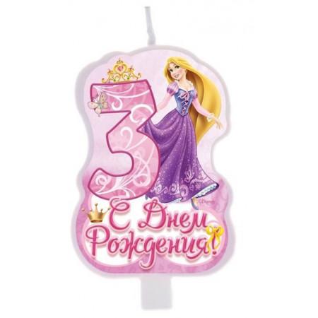 """Свеча в торт """"С днем рождения"""", цифра 3, Принцессы"""
