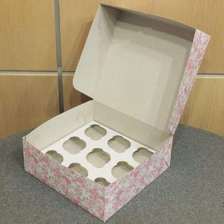 Коробка на 9 капкейков цветная 27*26*10 см
