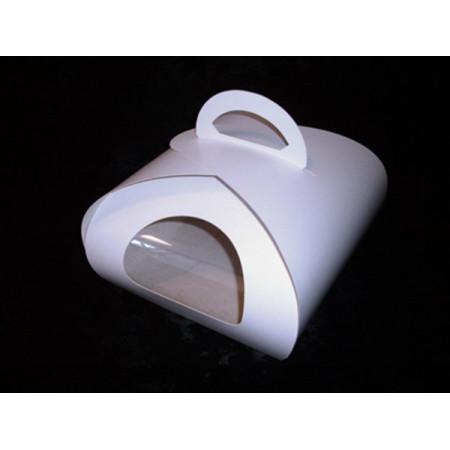 Коробка для торта 21*20*14 см с окном и ручкой