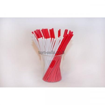 Палочки для кейк-попсов 15 см 50шт красно-белые