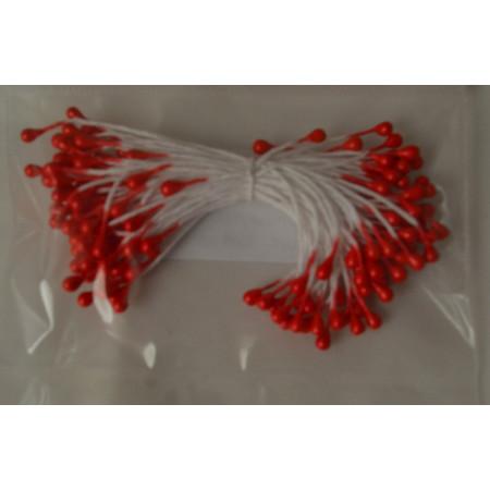 Тычинки для цветов красные перламутровые, 140 шт