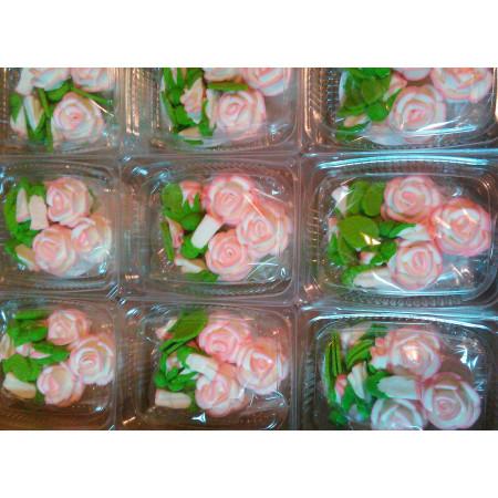 """Сахарный декор """"Чайные розы""""  белые 3 шт"""