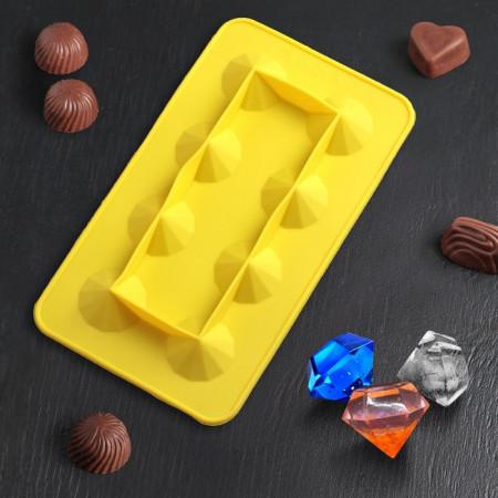 Форма для льда и шоколада «Бриллиант», 8 ячеек, 22,9×13×3,3 см