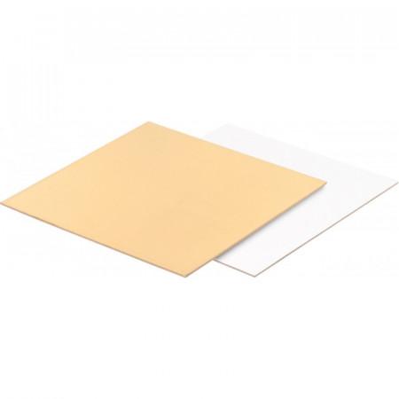 Подложка для торта квадратная (золото, белая) 15*15 см толщ. 1,5 мм