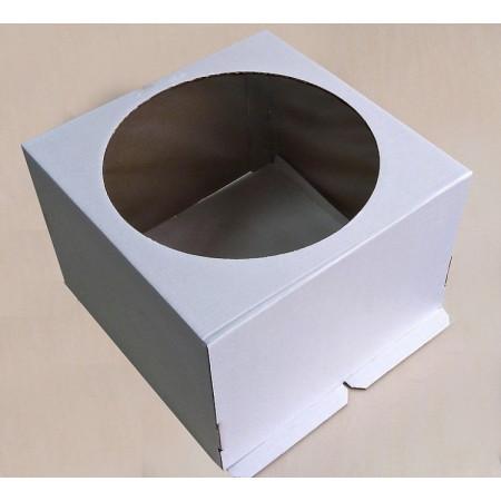 Коробка для торта 28*28*13 см белая с окном