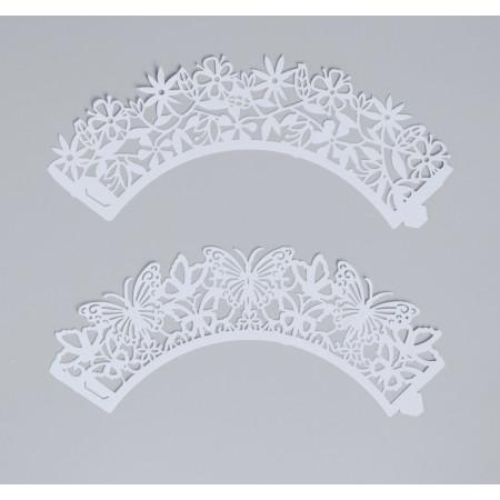 Форма ажурная бумажная для мафинов белый МИКС